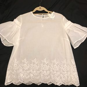 H&M cotton embroidered blouse ladies Sz 10